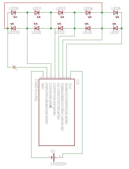 Attiny charlieplex circuit